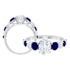 3 CT Solitaire Moissanite and Created Blue Sapphire Engagement Ring