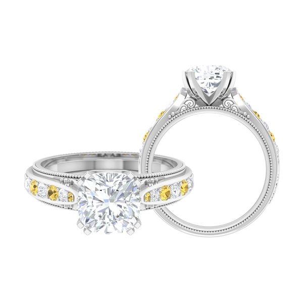 2.25 CT Solitaire Moissanite and Citrine Vintage Engagement Ring