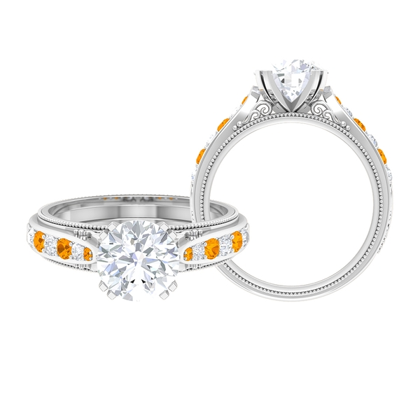 2.50 CT Vintage Round Cut Moissanite and Created Orange Sapphire Ring with Milgrain
