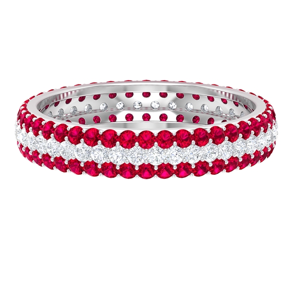 1.75 CT Diamond and Ruby Eternity Wedding Band Ring