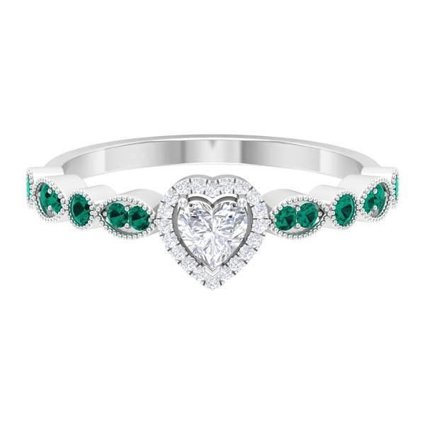 1/2 CT Heart Shape Diamond and Created Russian Emerald Side Stone Engagement Ring