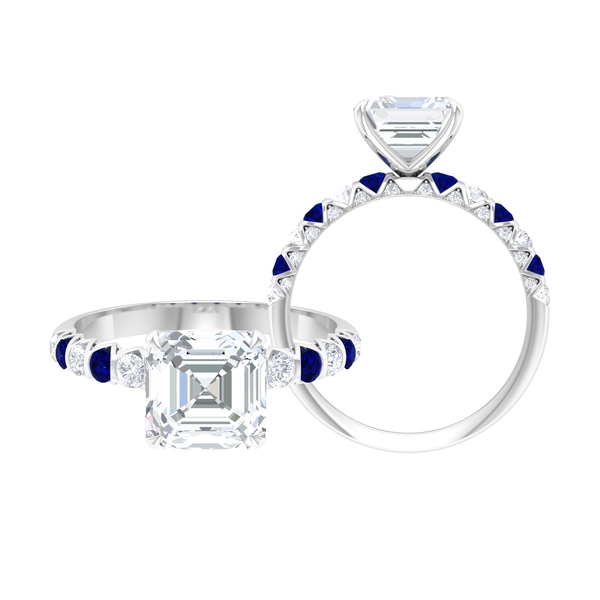 3.25 CT Asscher Cut Moissanite and Created Blue Sapphire Ring