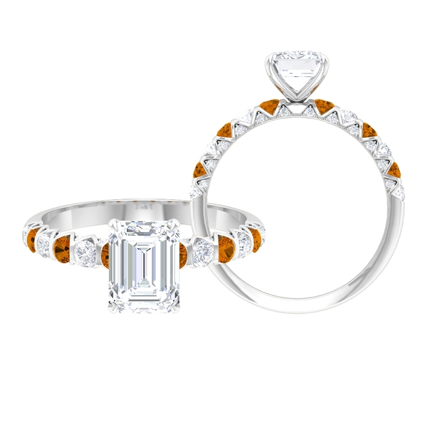 2.25 CT Solitaire Moissanite and Created Orange Tourmaline Ring