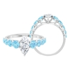 2.50 CT Marquise Cut Moissanite Solitaire and Created Aquamarine Side Stone Ring