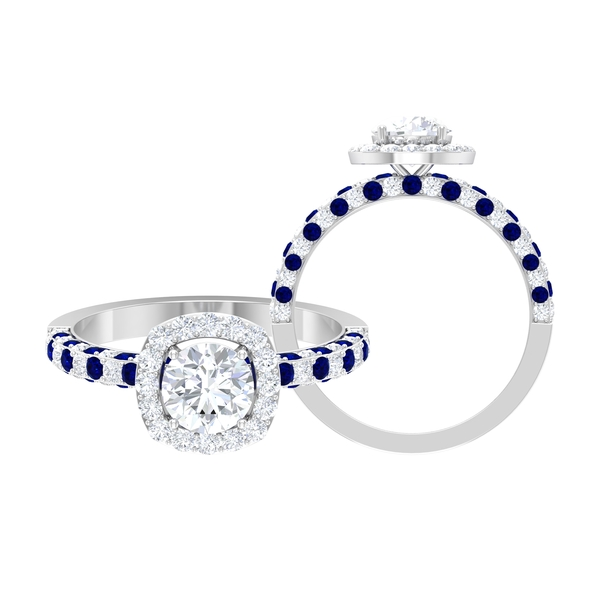 1.75 CT Moissanite and Created Blue Sapphire Engagement Ring