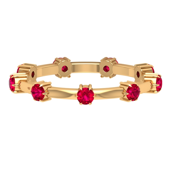 1 CT Claw Set Created Ruby Stackable Band Ring