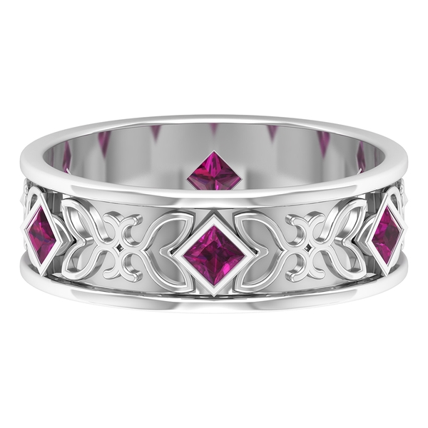 1/2 CT Princess Cut Rhodolite Gold Engraved Wide Band Ring
