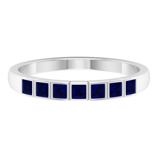 1/2 CT Princess Cut Created Blue Sapphire Seven Stone Band Ring