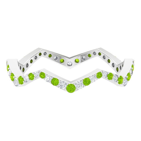 1/2 CT Created Kryptonite and Diamond Zig Zag Stackable Ring