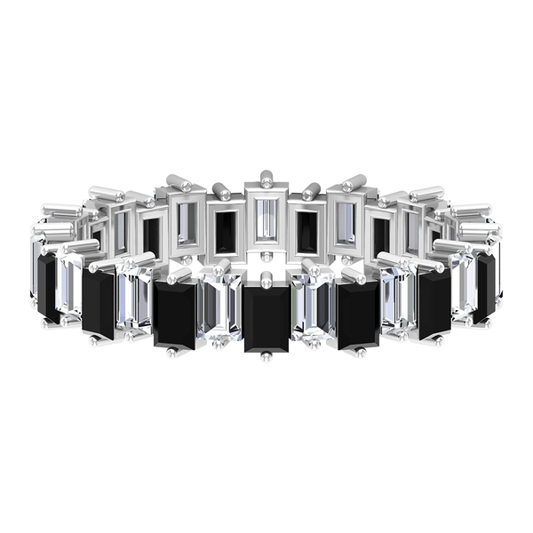 4.50 CT Baguette Cut Black Spinel and Diamond Eternity Band