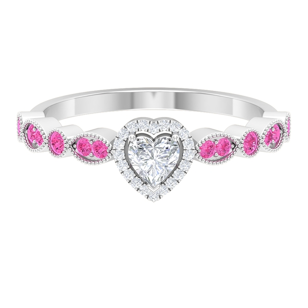 1/2 CT Heart Shape Diamond Promise Ring with Created Pink Sapphire