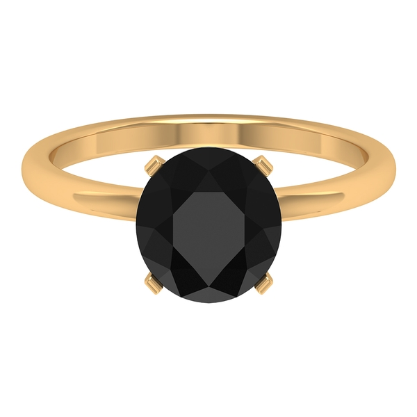 8 MM Created Black Diamond Simple Solitaire Ring