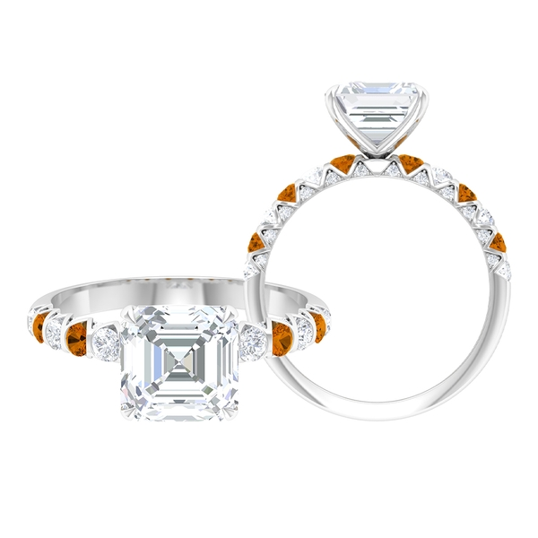 3.25 CT Solitaire Moissanite and Created Orange Tourmaline Ring