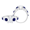 3.25 CT Solitaire Moissanite and Created Blue Sapphire Ring