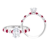 2 CT Oval Cut Moissanite and Created Ruby Ring