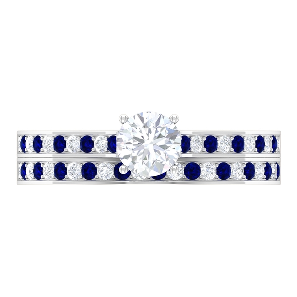 1 CT Solitaire Diamond and Blue Sapphire Engagement Ring Set