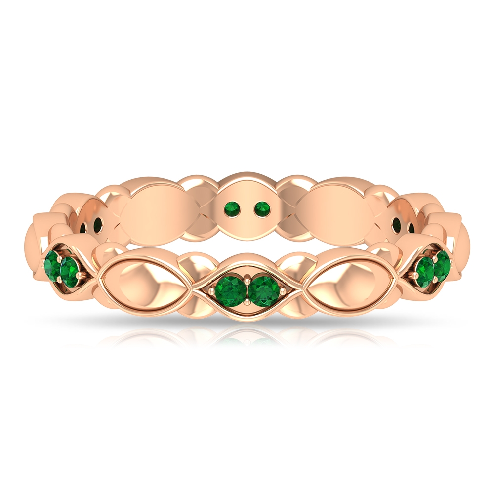 Unique Textured Gold Wedding Band with Emeralds