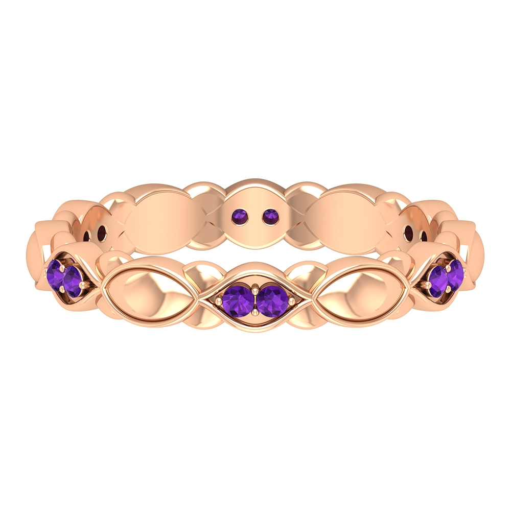 Amethyst Textured Gold Band Ring