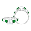 3 CT Octagon Cut Solitaire Moissanite and Created Emerald Ring
