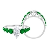 4 CT Marquise Cut Moissanite Solitaire Ring with Created Emerald Side Stones