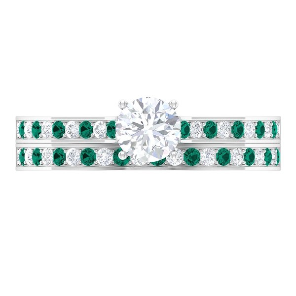 1 CT Solitaire Diamond and Created Russian Emerald Wedding Ring Set