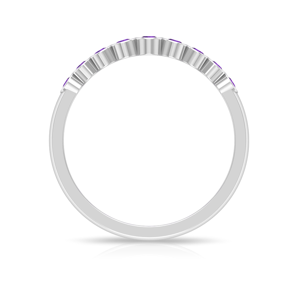 1/4 CT Bezel Set Amethyst Stackable Band Ring For Women