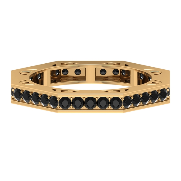 3/4 CT Black Spinel Art Deco Eternity Band Ring