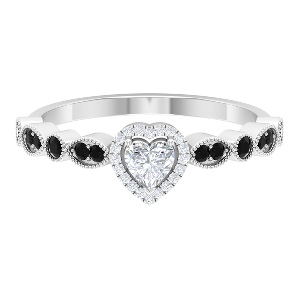 1/2 CT Heart Shape Solitaire Diamond Ring with Created Black Diamond