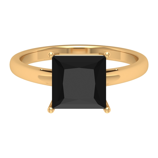 8 MM Princess Cut Black Spinel Simple Solitaire Ring