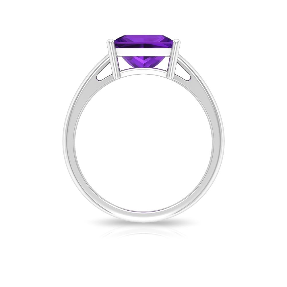 8 MM Princess Cut Amethyst Simple Solitaire Ring