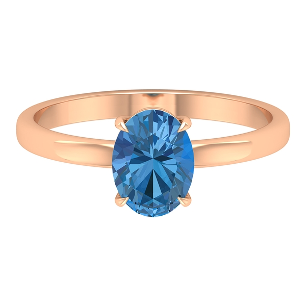 8X6 MM Oval Cut Created Arctic Blue Sapphire Solitaire Ring
