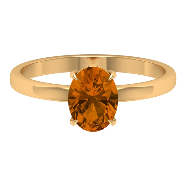 8X6 MM Oval Cut Created Orange Tourmaline Solitaire Ring