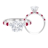 3.75 CT Cushion Cut Moissanite and Created Ruby Ring