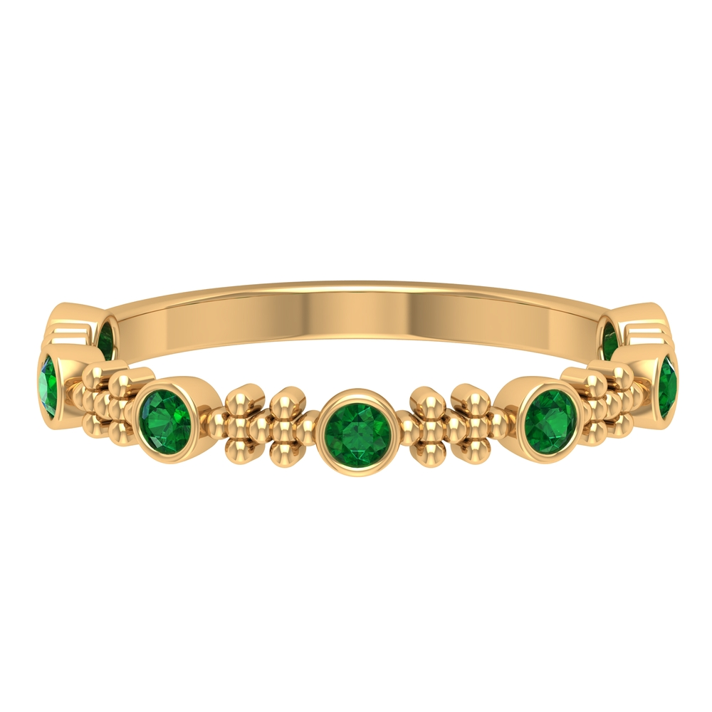 1/4 CT Bezel Set Emerald and Gold Beaded Stackable Band
