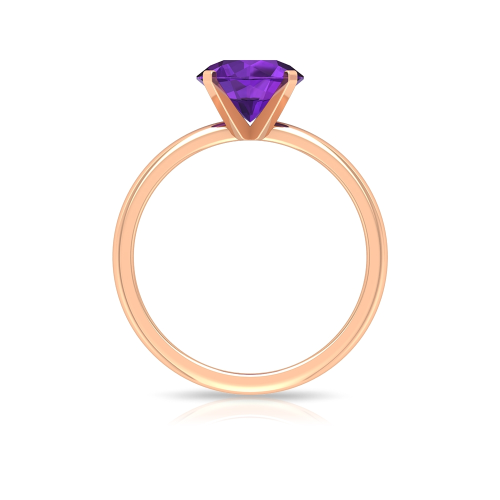 8 MM Round Cut Amethyst Simple Solitaire Ring