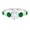 2.75 CT Oval Cut Solitaire Moissanite and Created Emerald Cocktail Ring