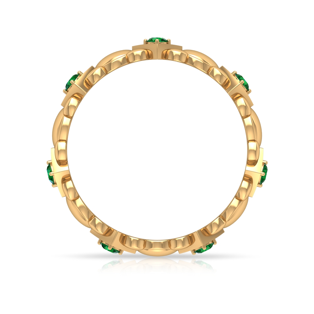 1/4 CT Gold Engraved Wedding Band with Emeralds