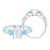 3.25 CT Octagon Cut Moissanite Solitaire Engagement Ring with Created Aquamarine Accent