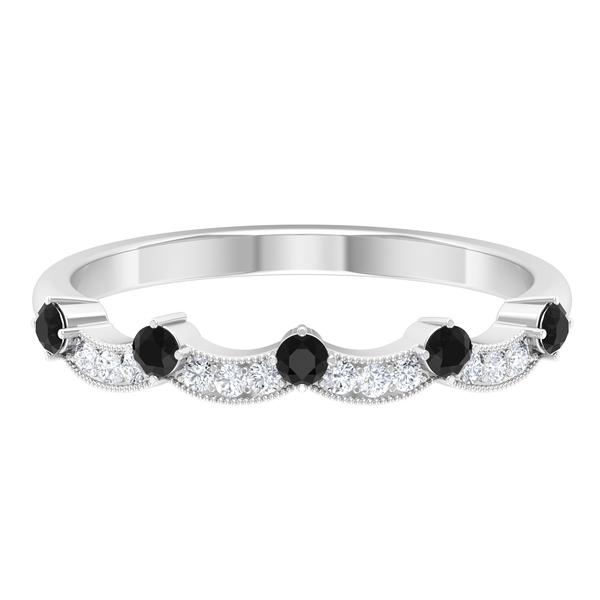0.25 CT Black Spinel and Diamond Band Ring