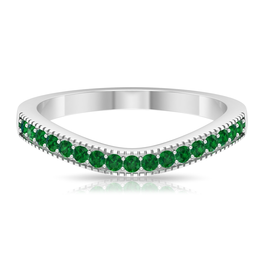 1/4 CT Emerald Curved Stackable Band with Milgrains