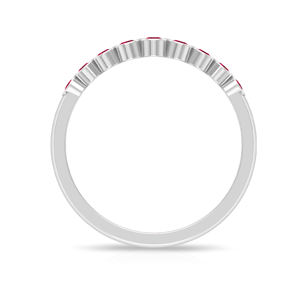 1/4 CT Bezel Set Ruby Stackable Band Ring For Women