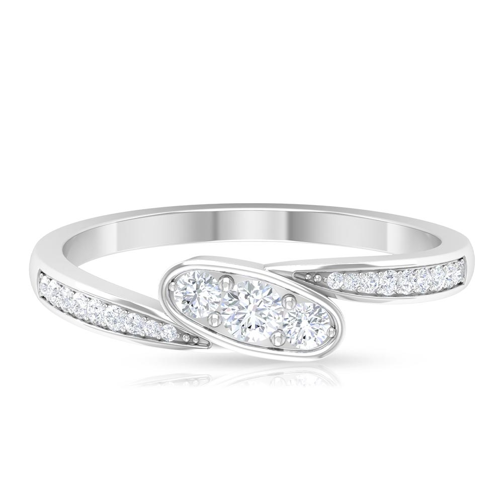1/4 CT Diamond Minimal Ring in Prong Setting with Bypass Shank
