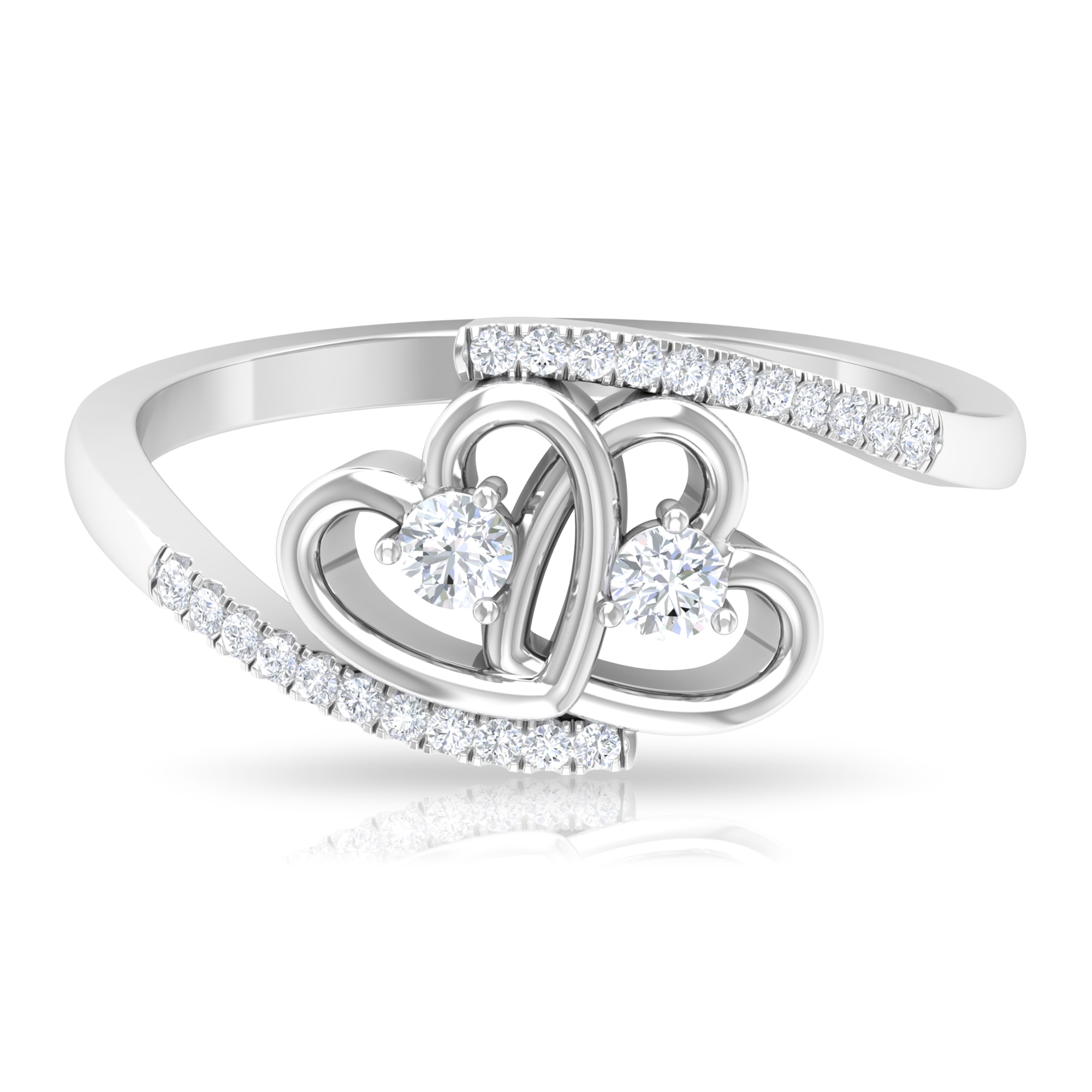 1/4 CT Diamond Twin Heart Ring in Prong Setting with Bypass Shank