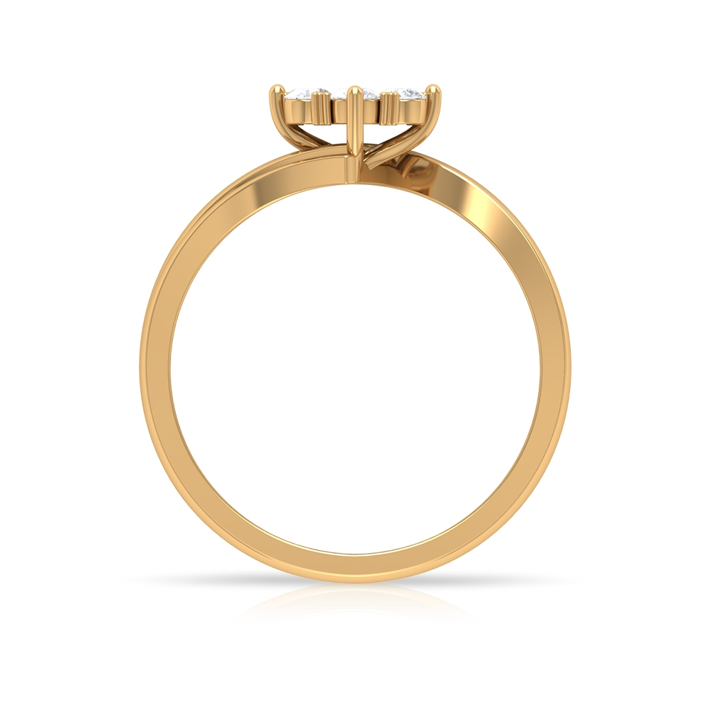 1/2 CT Floral Diamond Gold Ring with Bypass Shank
