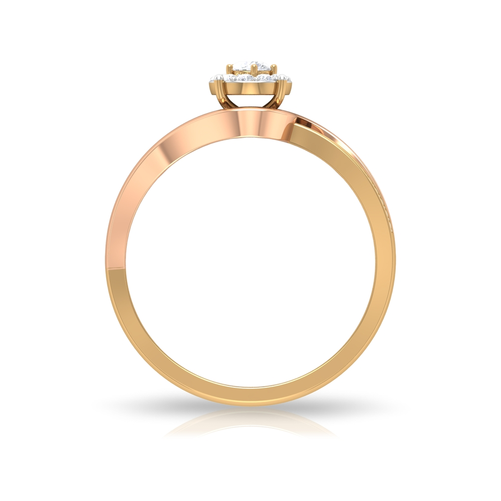 1/4 CT Diamond Engagement Ring with Bypass Shank and Two Tone Gold