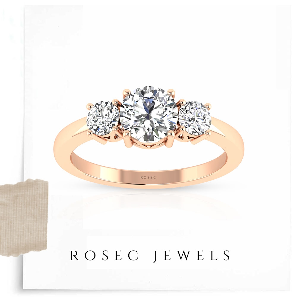 1/2 CT Diamond Three Stone Ring for Women in Prong Setting