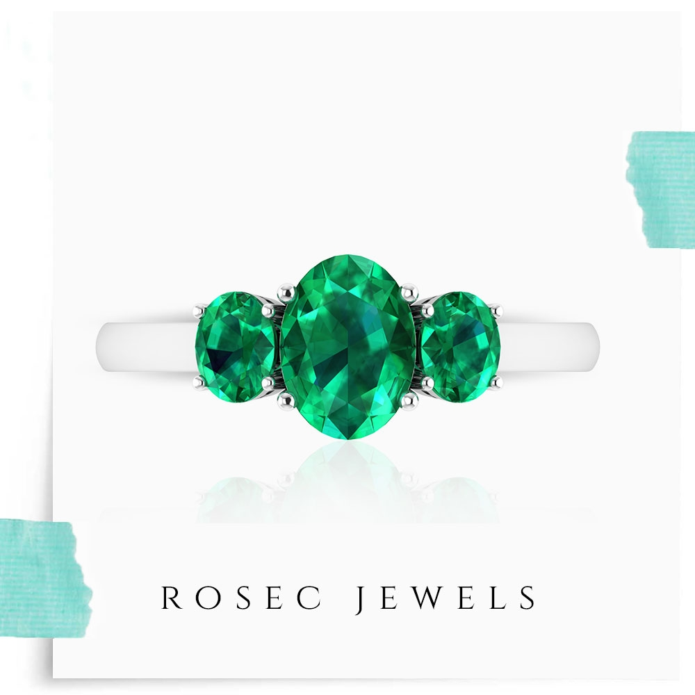 1.75 CT Oval Shaped Emerald Trilogy Ring