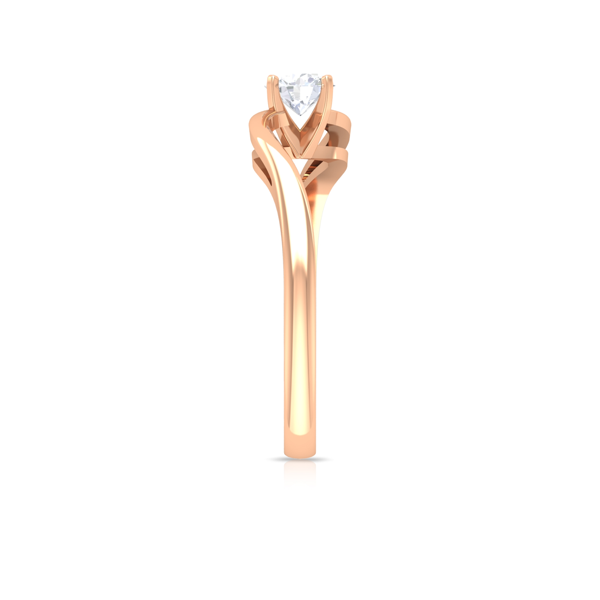 4.50X4.50 MM Round Diamond Solitaire Ring in 4 Prong Setting with Bypass Shank