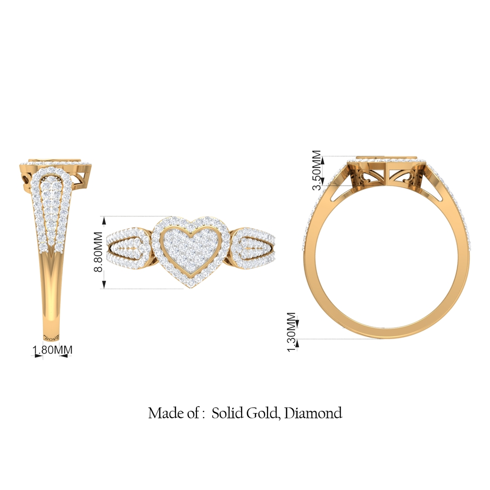 3/4 CT Diamond Heart Shape Engagement Ring in Pave Setting