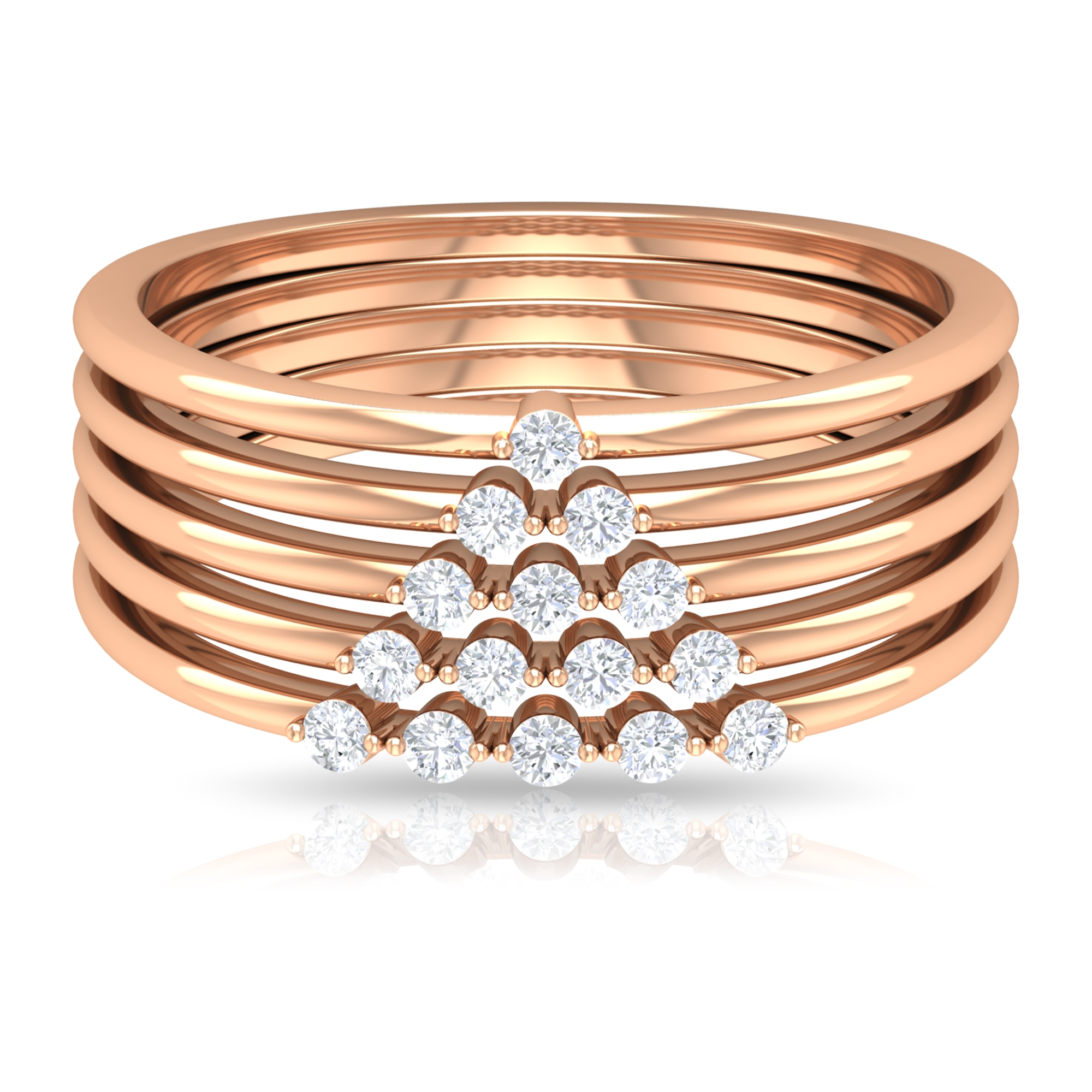 1/4 CT Prong Set Diamond and Gold Wide Ring for Women